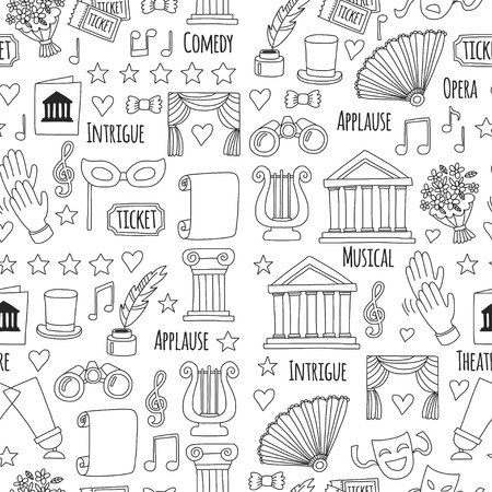 Seamless pattern Theatre set Vector illustration Sketchy theater icons Ticket Masks Lyra Flowers Curtain stage Musical notes Pointe shoes Make-up artist tools Theatre acting performance elements