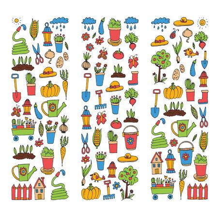 원예 귀여운 정원 벡터 설정 장비, 식물, 야채