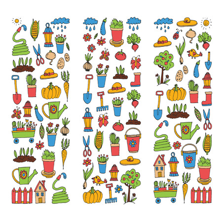 Gardening Cute garden vector set Equipment, plants, vegetables