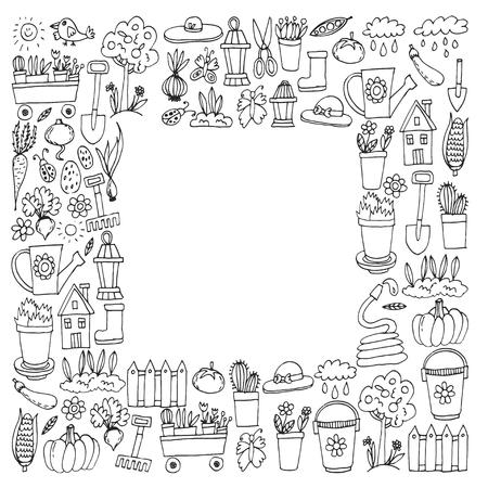 Gardening Cute garden vector set Equipment, plants, vegetables