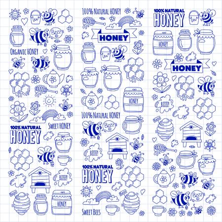 Honey market, bazaar, honey fair Doodle images of bees, flowers, jars, honeycomb, beehive, spot, the keg with lettering sweet honey, natural honey, sweet bees Ilustração