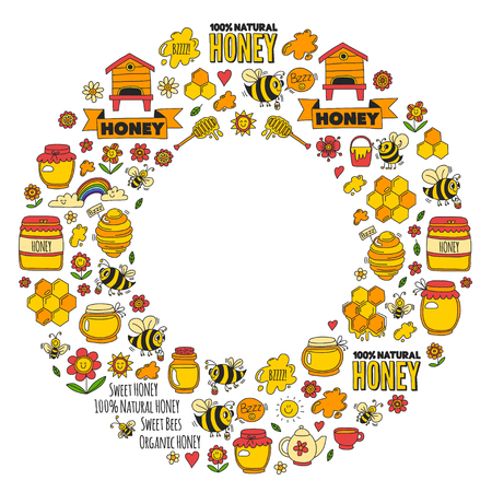 Honey market, bazaar, honey fair Doodle images of bees, flowers, jars, honeycomb, beehive, spot, the keg with lettering sweet honey, natural honey, sweet bees Ilustração