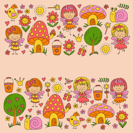 Illustration of magic forest with Fairies Doodle pattern for girls and kindergarten, children shop Kids drawing style