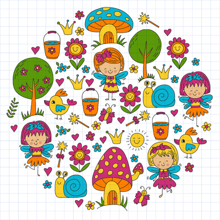 Illustration of magic forest with Fairies Doodle pattern for girls and kindergarten, children shop Kids drawing style Stock Vector - 75413037