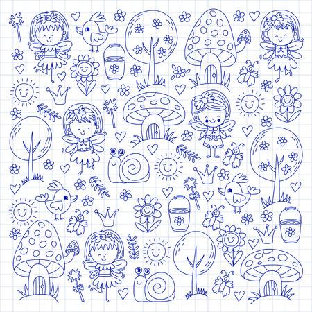 Illustratie van magisch bos met Fairies Krabbel patroon voor meisjes en kleuterschool, kinder winkel Kinder tekening stijl