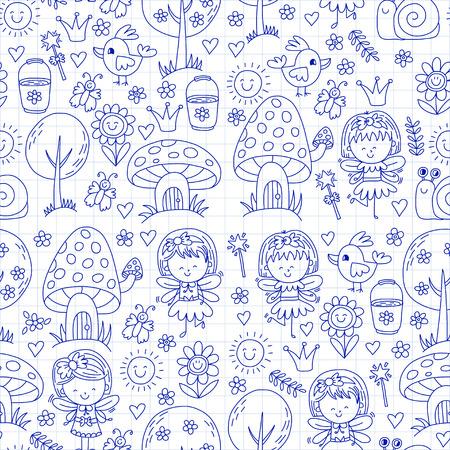 Vector naadloze patroon Illustratie van magische bos met Fairies Doodle patroon Stock Illustratie