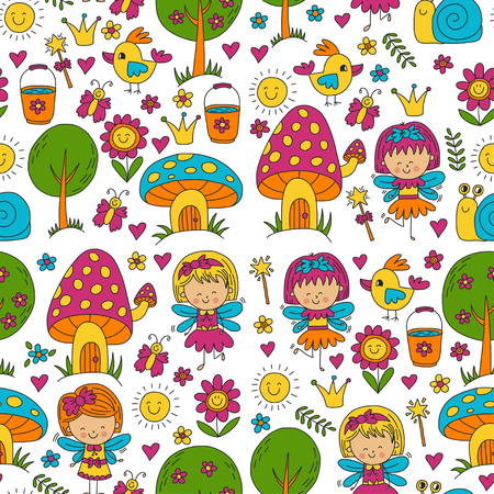 Vector seamless pattern Illustration of magic forest with Fairies Doodle pattern