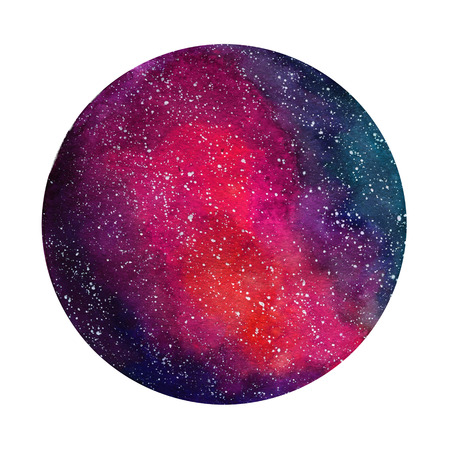 Space Cosmic background. Colorful watercolor galaxy or night sky with stars. Hand drawn cosmos illustration with blobs texture. Black, emerald, violet, green watercolour stains.