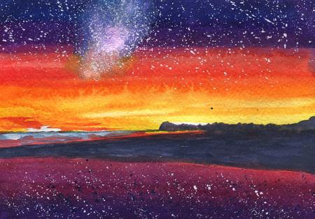 星、銀河、海とサンセットのビーチ、熱帯の砂の水彩絵島 Malvides、ハワイ 写真素材 - 75715295