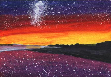 星、銀河、海とサンセットのビーチ、熱帯の砂の水彩絵島 Malvides、ハワイ 写真素材 - 75715297