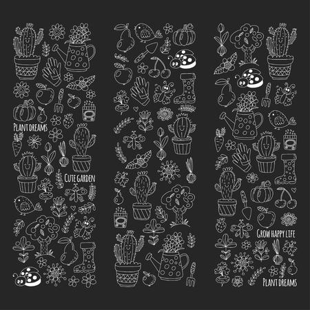 Leuke vectortuin met vogels, cactussen, planten, fruit, bessen, tuingereedschap, rubberen laarzen Tuin markt patroon in doodle stijl geïsoleerd op schoolbord.
