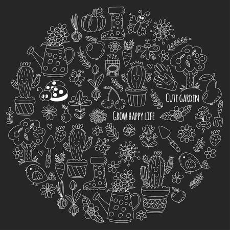 pumpkin seeds: Cute vector garden with birds, cactus, plants, fruits, berries, gardening tools, rubberboots Garden market pattern in doodle style isolated on blackboard.