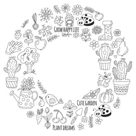 Leuke vectortuin met vogels, cactussen, planten, fruit, bessen, tuingereedschap, rubberen laarzen Tuinmarkt patroon in doodle stijl voor het kleuren van pagina's, kleurenboeken.
