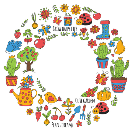 Cute vector garden with birds, cactus, plants, fruits, berries, gardening tools, rubberboots Garden market pattern in doodle style.