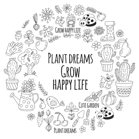 Cute vector garden with birds, cactus, plants, fruits, berries, gardening tools, rubberboots Garden market pattern in doodle style for coloring pages, coloring books.