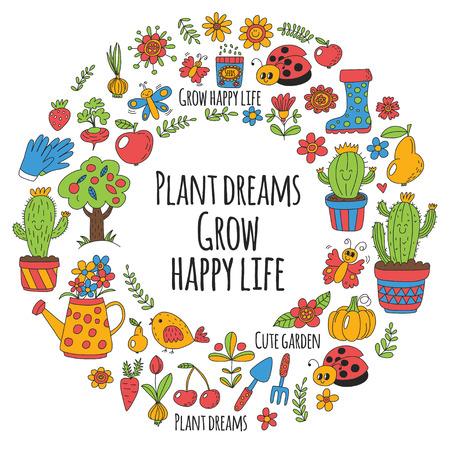 pumpkin seeds: Cute vector garden with birds, cactus, plants, fruits, berries, gardening tools, rubberboots Garden market pattern in doodle style.