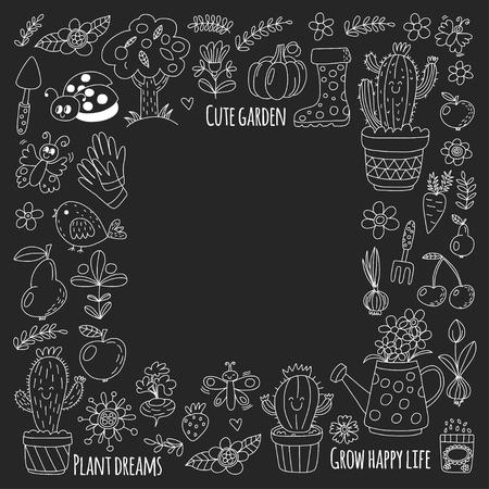 Cute vector garden with birds, cactus, plants, fruits, berries, gardening tools, rubberboots Garden market pattern in doodle style isolated on blackboard. Banco de Imagens - 76074958