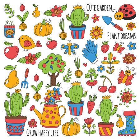 Leuke vectortuin met vogels, cactussen, planten, fruit, bessen, tuingereedschap, rubberen laarzen Tuinmarkt patroon in doodle stijl.