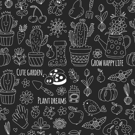 Cute vector garden with birds, cactus, plants, fruits, berries, gardening tools, rubberboots Garden market pattern in doodle style isolated on blackboard.