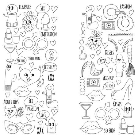 Doodle humoristische vector sextoys voor seksshop, internetwinkel Dildo, seks. liefde, passie, verleiding, video, porno, humoristisch sexshopspeelgoed. Stock Illustratie