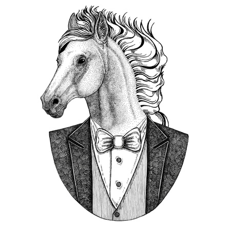 Horse, hoss, knight, steed, courser Hipster animal Hand drawn illustration for tattoo, emblem, badge, patch, t-shirt