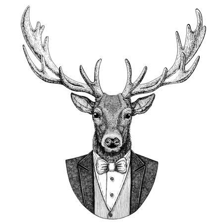 사슴 Hipster 동물 손으로 그린 그림 문신, 엠 블 럼, 배지, 로고, 패치, t- 셔츠 스톡 콘텐츠