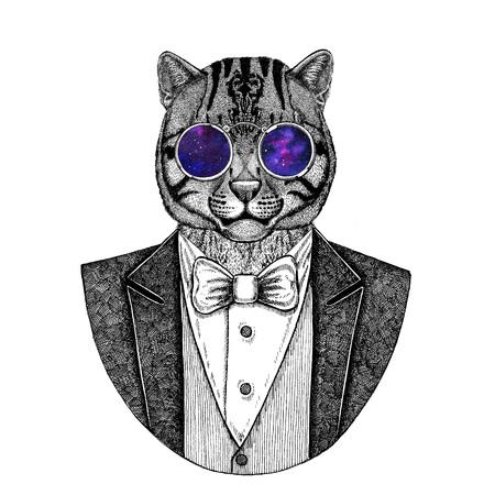 Wild cat Fishing cat Hand drawn illustration for tattoo, emblem,