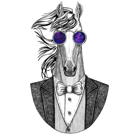 Horse, hoss, knight, steed, courser Hipster animal Hand drawn illustration for tattoo, emblem, badge, logo, patch, t-shirt
