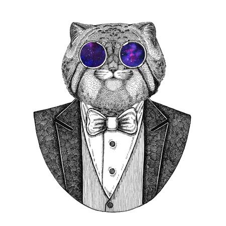 Wild cat Manul Hipster animal Hand drawn illustration for tattoo, emblem, badge, logo, patch, t-shirt