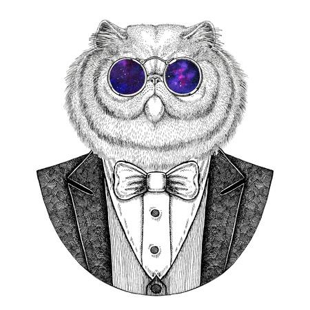 Portret van pluizig Perzische kat Hipster dier Hand getekend illustratie voor tatoeage, embleem, badge, logo, patch, t-shirt Stockfoto - 76461223