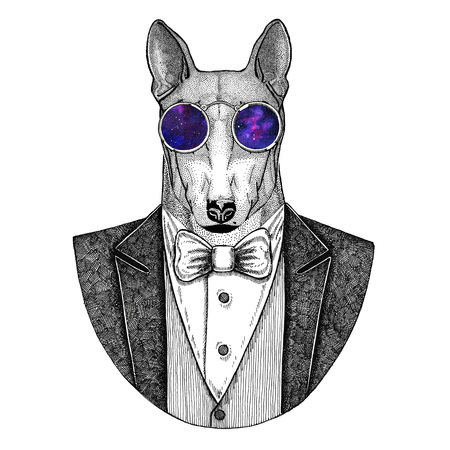 DOG for t-shirt design Hipster animal Hand drawn illustration for tattoo, emblem, badge, logo, patch, t-shirt Stock Photo
