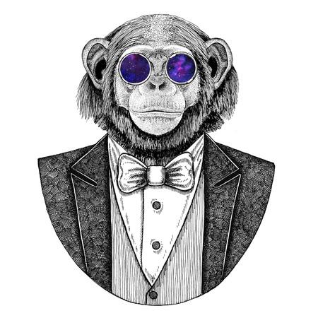 チンパンジー猿ヒップスター動物手描画タトゥー、エンブレム、バッジ、ロゴ、パッチ、t シャツ用イラスト