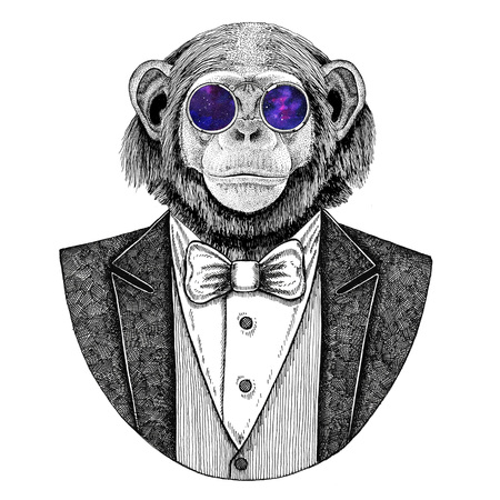 Chimpanzee Monkey Hipster animal Hand drawn illustration for tattoo, emblem, badge, logo, patch, t-shirt Archivio Fotografico