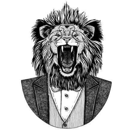 사자 Hipster 동물 손으로 그린 이미지 문신, 엠 블 럼, 배지, 로고, 패치, t- 셔츠