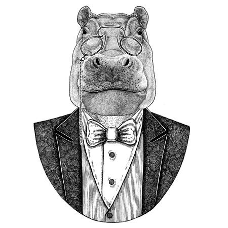 Hippo, Hippopotamus, beihoth, river-horse Hipster animal 문신, 엠블럼, 로고, 패치, 티셔츠 손으로 그린 이미지