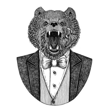 갈색 곰 러시아어 힙 스타 동물 문신, 엠 블 럼, 배지, 로고, 패치, t- 셔츠에 대 한 손으로 그린 된 이미지 스톡 콘텐츠