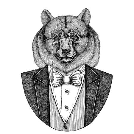rimless: Black bear American bear Aper, boar, hog, wild boar, hog, Hipster animal Hand drawn image for tattoo, emblem, badge, logo, patch, t-shirt