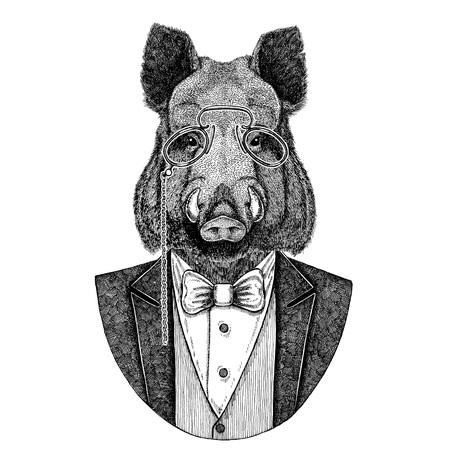 Aper, 멧돼지, 돼지, 멧돼지, 돼지, Hipster 동물 귀영 나팔, 엠 블 럼, 배지, 로고, 패치, 티셔츠 손으로 그린 이미지