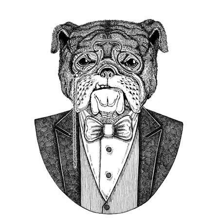 Bulldog Dog Hipster animal Dibujado a mano ilustración de tatuaje, emblema, insignia, logotipo, parche, camiseta