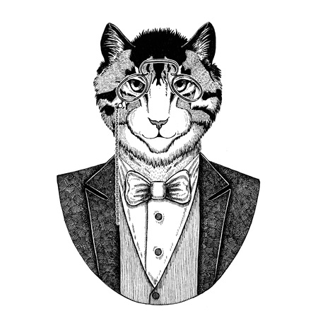 rimless: Image of domestic cat Hipster animal Hand drawn illustration for tattoo, emblem, badge, logo, patch, t-shirt Stock Photo