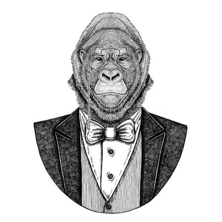 Gorilla, monkey, ape Frightful animal Hipster animal Hand drawn illustration for tattoo, emblem, badge, logo, patch, t-shirt