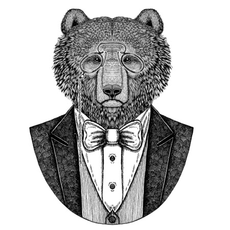 갈색 곰 러시아어 bearHipster 동물 문신, 엠 블 럼, 배지, 로고, 패치, t- 셔츠에 대 한 손으로 그린 된 이미지