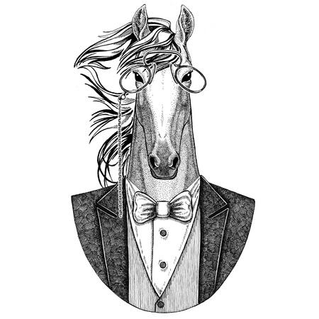 말, hoss, 기사, steed, courser Hipster 동물 문신, 엠 블 럼, 로고, 패치, t- 셔츠에 대 한 손으로 그린 그림 스톡 콘텐츠 - 76527000