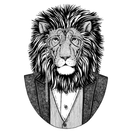 lion tail: Wild Lion Hipster animal Hand drawn illustration for tattoo, emblem, badge, logo, patch, t-shirt
