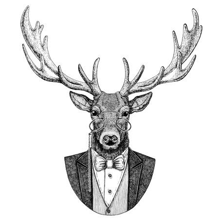 Deer Hipster animal Hand drawn illustration for tattoo, emblem, badge, logo, patch, t-shirt