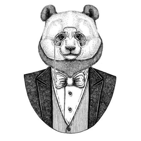 rimless: Panda bear, bamboo bear Hipster animal Hand drawn image for tattoo, emblem, badge, logo, patch Stock Photo