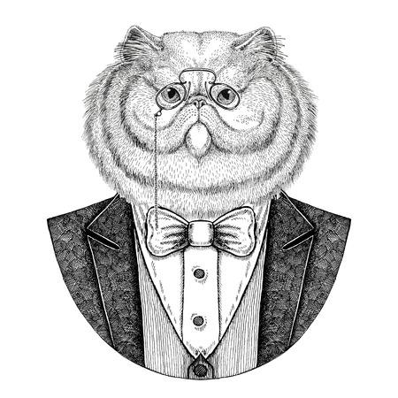 ふわふわペルシャ猫流行に敏感な動物の肖像画が描かれたイラストを手します。