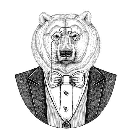 북극곰 Hipster 동물 손으로 그린 그림 문신, 엠 블 럼, 배지, 패치, t- 셔츠