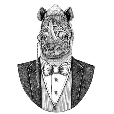 코뿔소, rhino Hipster 동물 문신, 엠 블 럼, 배지, 로고, 패치, t- 셔츠에 대 한 손으로 그린 그림 스톡 콘텐츠