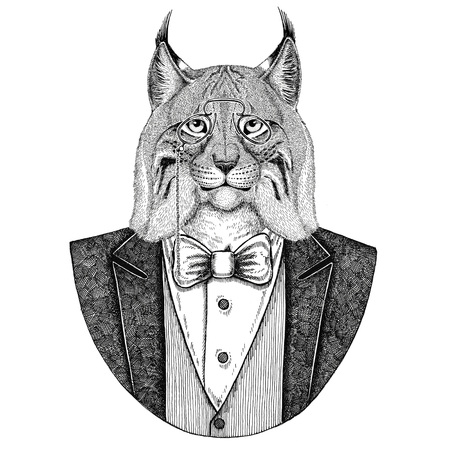 Wild cat Lynx Bobcat Trot Hipster animal Hand drawn illustration for tattoo, emblem, badge, logo, patch, t-shirt Stock Photo